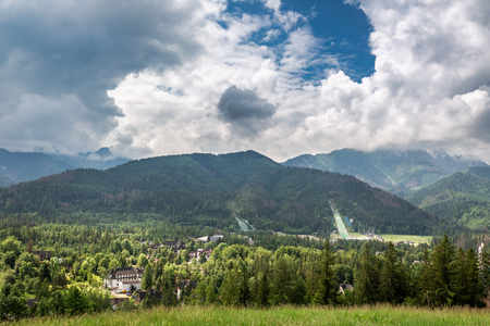 Cloudy day in Zakopane view to ski jump, Poland, Europe