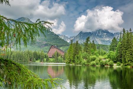 Calm mountain lake in Strbske Pleso in summer, Slovakia