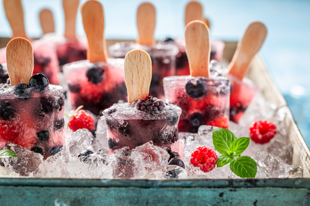 Juicy ice cream with berries on cold ice