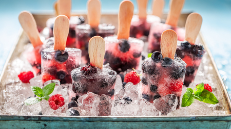 Yummy berry fruits ice cream on cold ice