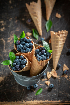 Yummy blueberries in waffels as concept of ice cream