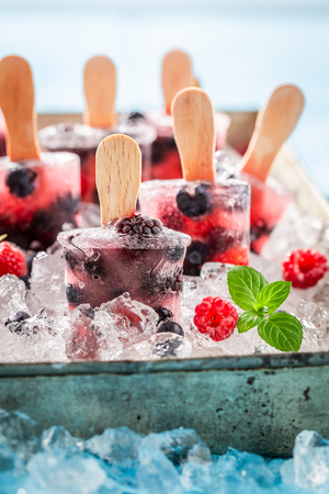 Homemade ice cream with berries on a stick 스톡 콘텐츠