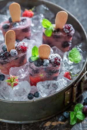 Fresh ice cream with berries on a stick 스톡 콘텐츠
