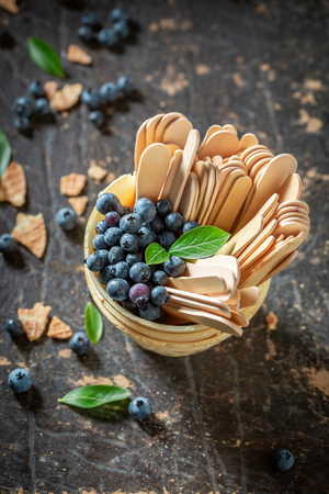 Juicy blueberries in waffels as concept of ice cream 스톡 콘텐츠