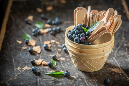 Juicy blueberries in waffels as homemade ice cream