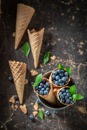 Yummy blueberries in waffels as a symbol of ice cream 스톡 콘텐츠