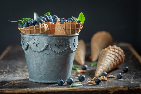 Delicious blueberries in waffels as ice cream concept
