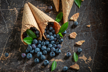 Delicious blueberries in waffels as a symbol of ice cream 스톡 콘텐츠