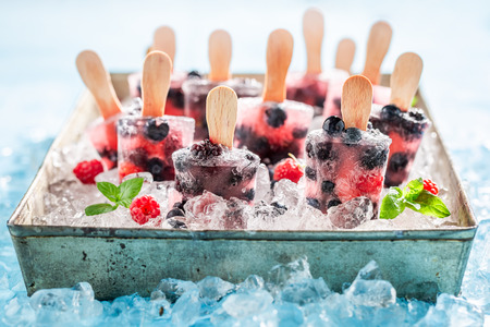 Sweet berry fruits ice cream on a stick