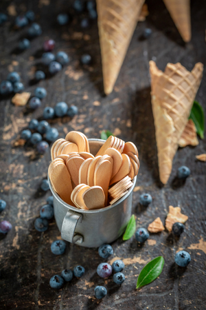 Fresh blueberries in waffels as ice cream concept