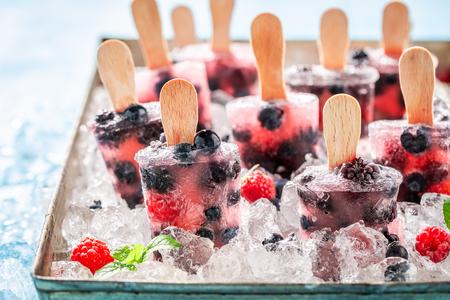Juicy berry fruits ice cream on cold ice 스톡 콘텐츠