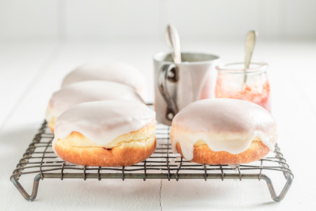 Homemade and tasty donuts with white icing