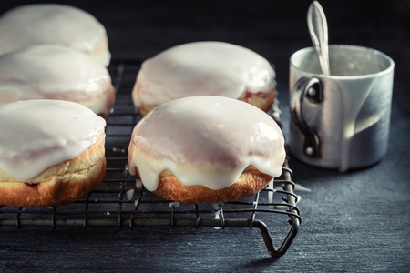 Tasty and homemade donuts hot and freshly baked