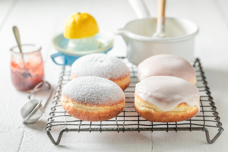 Delicious and sweet donuts hot and freshly baked Stock Photo