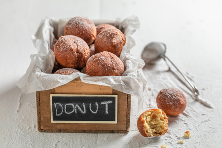 Sweet and fresh donuts balls ready to eat Banco de Imagens