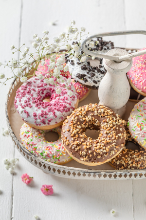 Sweet and tasty donuts with various decoration