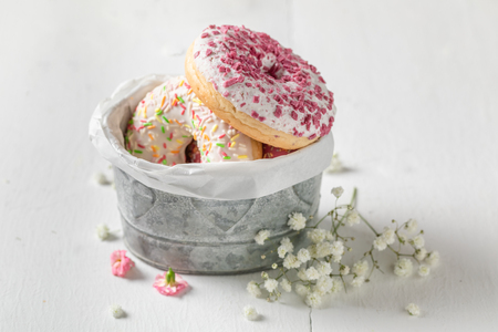 Homemade and tasty donuts with different sprinkles