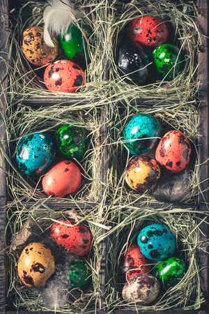 Quail and hen Easter eggs in wooden box with hay