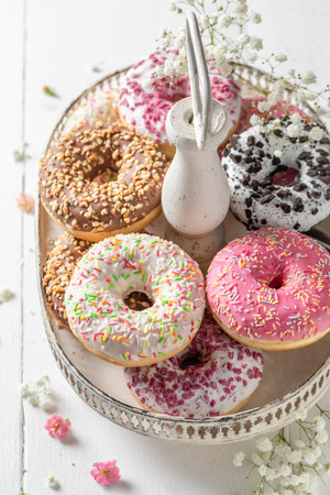 Yummy and fresh donuts ready to eat