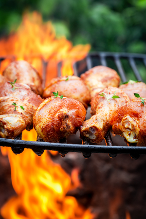 Delicious chicken leg with herbs and spices on grill Banco de Imagens