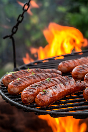 Hot sausage on grill with herbs and spices