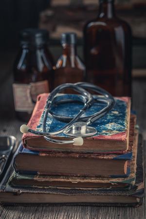 Closeup of retro stethoscope as medical education concept