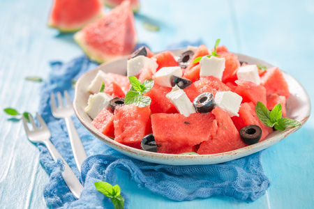 Fresh watermelon salad with black olives and feta cheese Stok Fotoğraf - 119871037