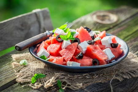Delicious watermelon salad with feta cheese and black olives Stock fotó
