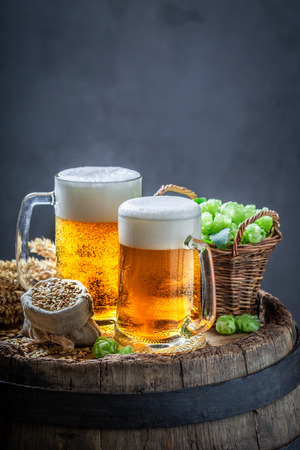 Two cold light beers with hops on old barrel Фото со стока