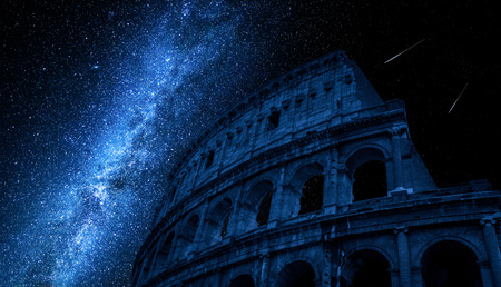 Milky way over Colosseum in Rome, Italy