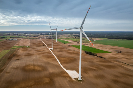 Flying above ecological wind turbines in spring