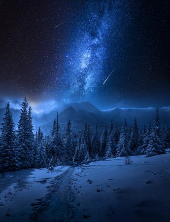 Milchstraße, Tatra-Gebirge im Winter nachts, Polen Standard-Bild