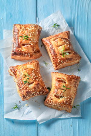 Delicious sausage roll as a snack for breakfast