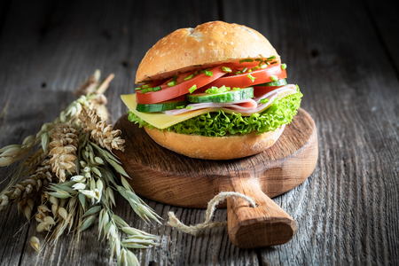 Fresh sandwich with lettuce, tomato and ham