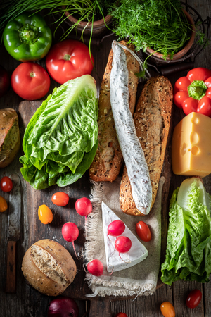 Delicious preparation for sandwich with cheese, tomato and radish