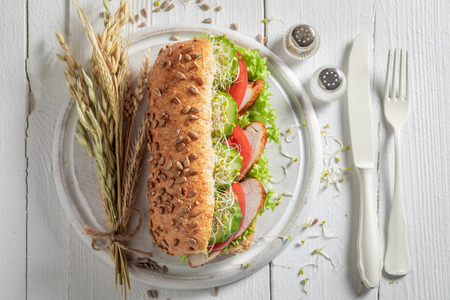 Fresh sandwich with grilled chicken, tomato and cucumber Stock Photo