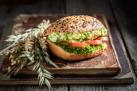Fresh sandwich with tomato, lettuce, egg paste Banco de Imagens