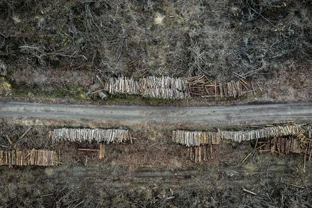 Flying above horrible deforestation, logging, environmental destruction