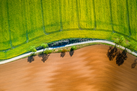 Yellow and green rape fields in the countryside, aerial view Reklamní fotografie