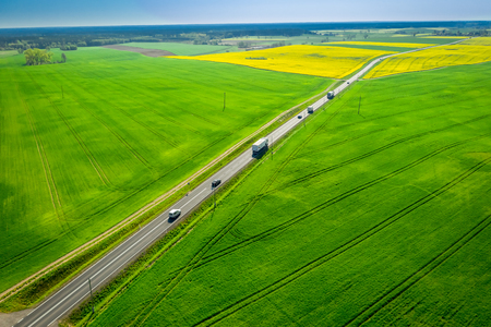 Moving cars on a fast road between rape fields