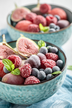 Delicious ice cream sorbet with mix of summer fruits