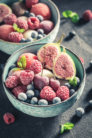 Sweet ice cream sorbet with mix of summer fruits