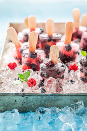 Cold and tasty berry fruits ice cream on cold ice 스톡 콘텐츠