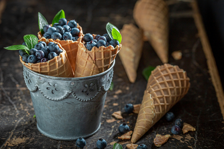 Fresh and sweet blueberries in waffels as ice cream concept