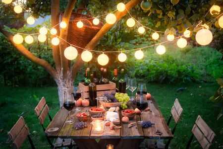 Rustic table with snacks and wine in the summer evening