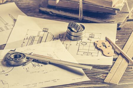 Closeup of designer desk of mechanical parts