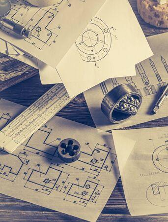 Top view of vintage designer desk of mechanical parts
