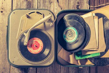 Old gramophone with few black vinyl records Stok Fotoğraf - 125488266