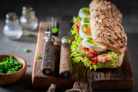 Tasty sandwich with bacon, chive and eggs Banco de Imagens