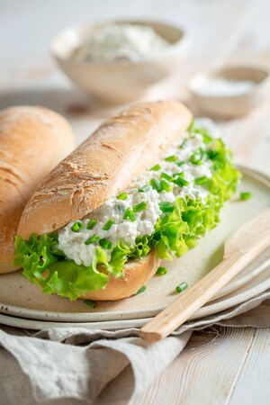Tasty sandwich with crunchy bread, chive and fromage cheese 免版税图像 - 126979403